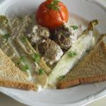American Meatballs and Chicory in Cheese Sauce Appetizer