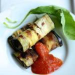 American Eggplant Rolls with Sweet Pepper Sauce Appetizer