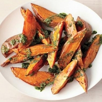 American Roasted Sweet Potatoes with Parsley and Walnut Pesto Dinner