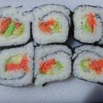 American Simple Sushi Roll with Smoked Salmon Appetizer