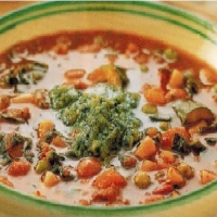 Italian Minestrone With Pesto Soup