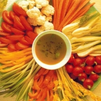 British Raw Vegetables with Olive Oil Dip Appetizer