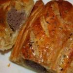 American Packages of Puff Pastry with Sausage Appetizer