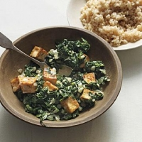 Indian Spiced Tofu with Wilted Spinach and Yogurt Appetizer