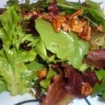 American Mixed Greens with Walnut and Roasted Onion Dressing Recipe Appetizer