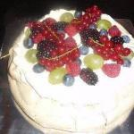 American Pavlova of Fresh Fruit Dessert