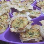 American Baskets with Salads or Olives from Puff Pastry Dough Filo with Shecrab Meat Appetizer