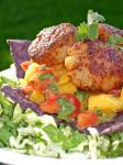Canadian A Salad of Seared Scallops Mango Salsa and Tortilla Strips Appetizer