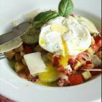 American Panzanella with Bacon and Poached Egg Appetizer