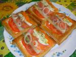 American Rainbow Smoked Salmon Salad in Puff Pastry Appetizer