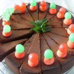 American Chocolate Cake with Strawberries and Mint Dessert