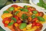 American Simply Sliced Heirloom Tomato and Fresh Basil Salad Appetizer