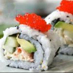 Japanese California Roll rolls of Sushi with Crab and Avocado Appetizer