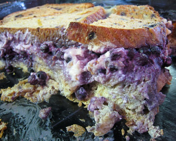 French Blueberry Cream Cheese Stuffed Baked French Toast Dessert