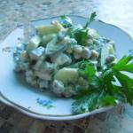 American Salad With Mushrooms and Green Peas Appetizer