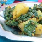 Indian Aloo Palak indian with Spinach and Potatoes Appetizer