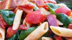 American Penne Pasta with Spinach and Bacon Recipe Appetizer
