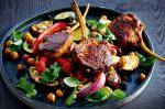 Moroccan Moroccan Spiced Lamb With Roast Vegetable And Chickpea Salad Recipe Dinner