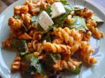 Chinese Spinach  Feta Pasta Dinner