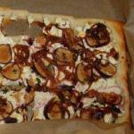 Puff Pastry Pizza from a Plate with Goat Cheese and Figs Caramelized Onions recipe