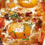 American Oven Vegetables with Baked Eggs Appetizer