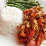 Australian Chicken Curry with Green Beans and Rice Dinner
