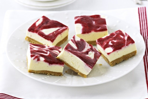 Australian White Chocolate and  Berry Cheesecake Slice Recipe Dessert