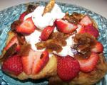French French Toast With Caramelized Pecans Strawberries and Cream Breakfast