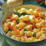 Colombian Creamy Potatoes with Tomato Appetizer