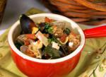 Italian Northwest Seafood Soup with Winter Greens and Sausage Appetizer