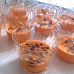 American Verrine Recipes of Panna Cotta of Peppers with Shrimp Appetizer