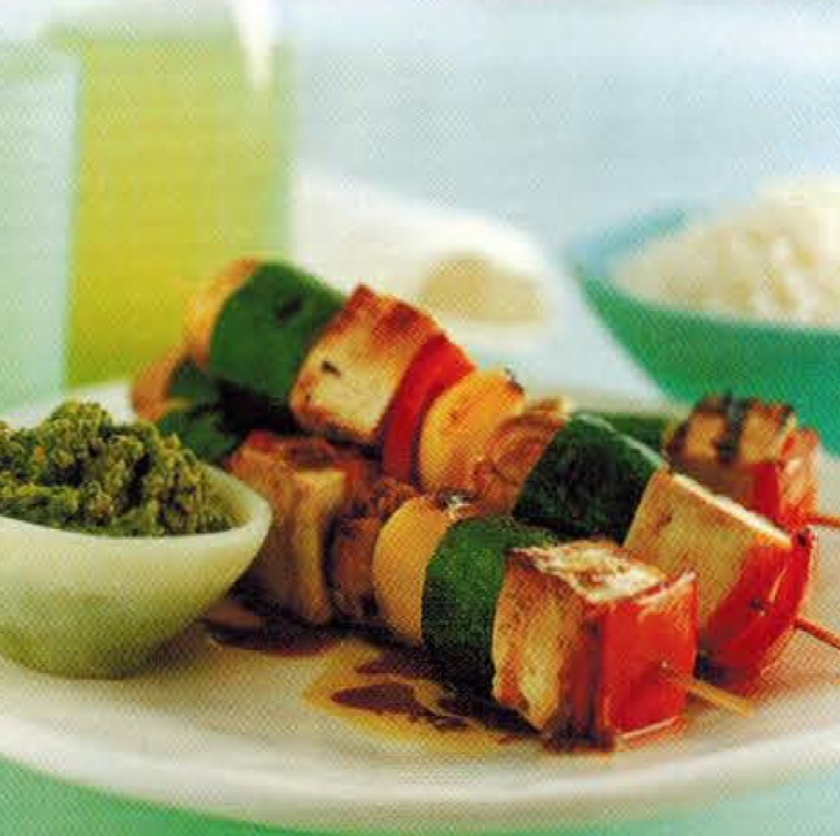 Chinese Tofu Kebabs With Miso Pesto BBQ Grill