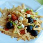 Canadian Fettuccine Tomatoes Olives and Goat Cheese Appetizer