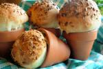 British Rustic Flower Pot Bread Loaves or Bread Rolls Appetizer