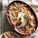 American Crumble with Poached Rhubarb Dessert