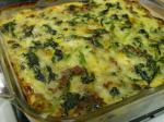 American Vegetarian Spinach Cheese and  Sausage Casserole Dinner