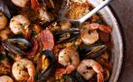 Mexican Frying Pan Paella Mixta paella with Seafood and Meat Recipe Appetizer