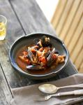 Spanish Baked Mussels in a Charred Onion and Saffron Broth Appetizer