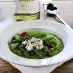 American Soup with Green Peas Asparagus BBQ Grill