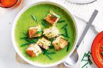 British Pea And Broccoli Soup With Grilled Cheese Sandwich Croutons Recipe Appetizer