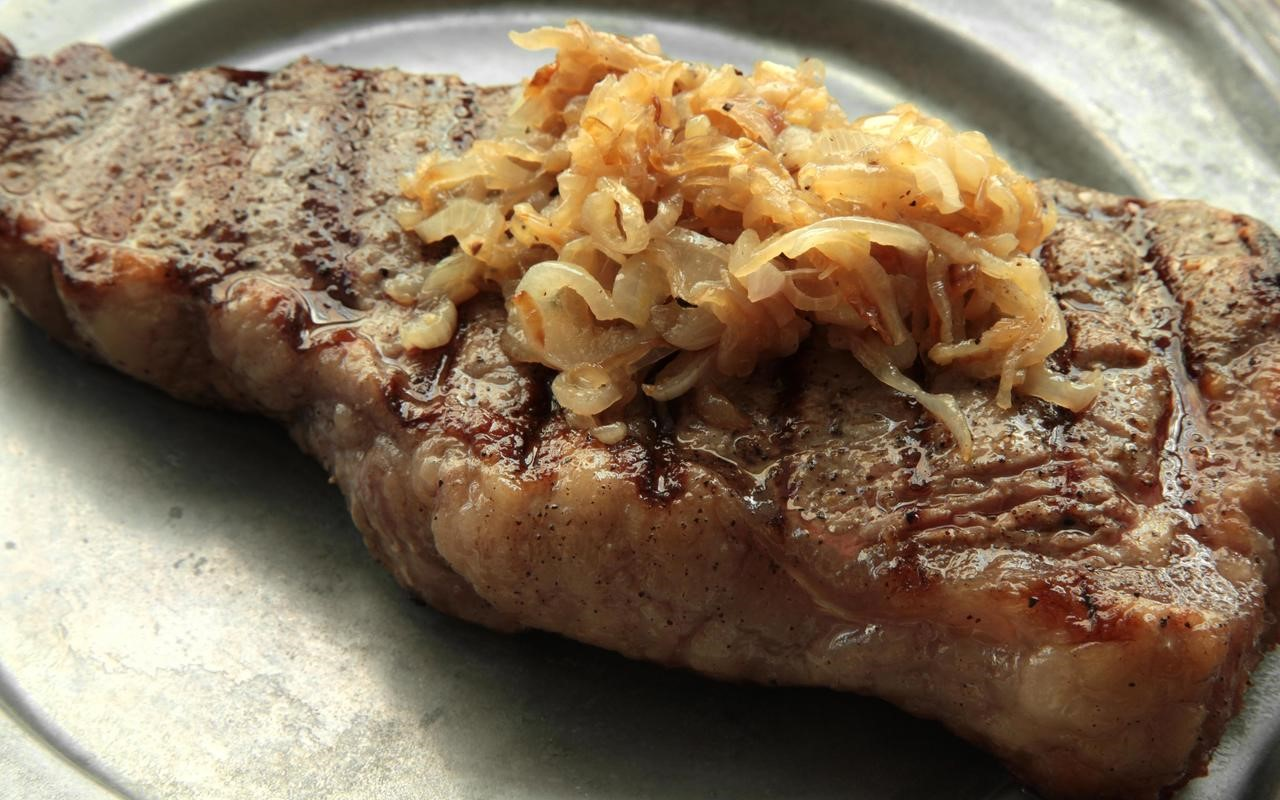 Australian New York Strip Steak with Caramelized Shallots Recipe Dinner