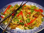 American Stir Fried Noodles with Curried Lamb Dinner