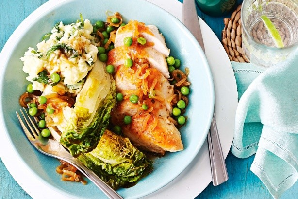 Irish Poached Chicken With Braised Cos And Champ Potatoes Recipe Dinner