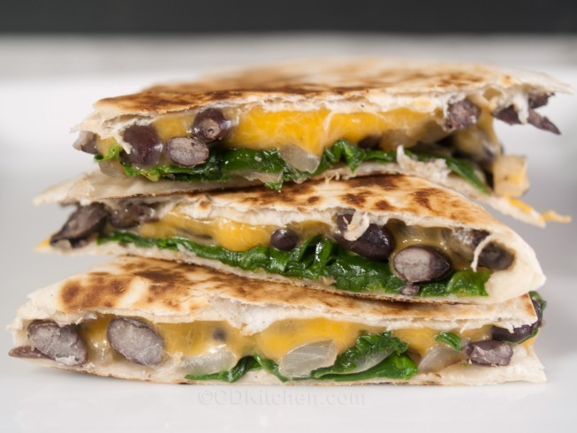 American Black Bean Spinach And Cheese Quesadillas Appetizer