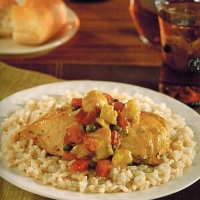 British East Indian Curried Chicken with Capers and Brown Rice Dinner