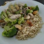 American Broccoli Chicken Mushroom and Cashew in the Wok Dinner