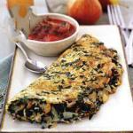 British Omelet with Spinach and Tomatomushroom Sauce Appetizer