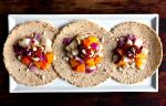American Tacos With Roasted Vegetables and Chickpeas in Chipotle Ranchera Salsa Recipe Appetizer