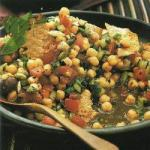 Lebanese Chick Peas Salad with Pita Bread Appetizer