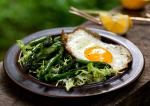 Canadian Panseared Asparagus Salad With Frisee and Fried Egg Recipe Appetizer
